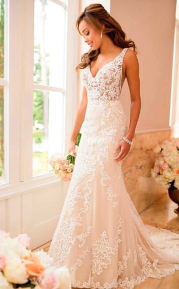 Stella York 6643 Stunning Illusion Lace Fitted Wedding Dress With Low Back Shimmer Sparkle